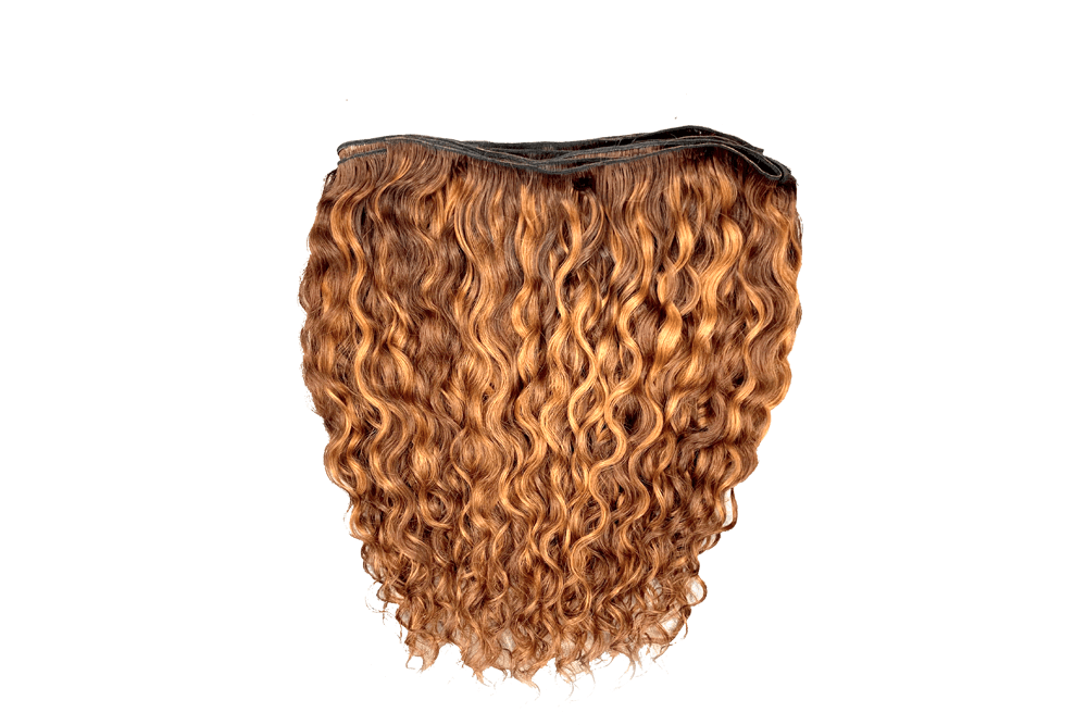 Natural Indian Curly - Medium Auburn with Light Auburn Streaks