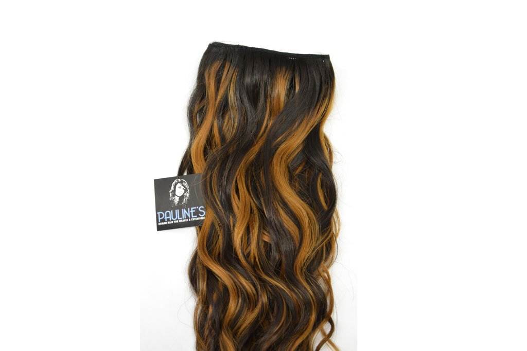 Natural Wavy with Light Auburn Streaks