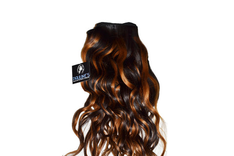 Natural Wavy with Dark Auburn Streaks