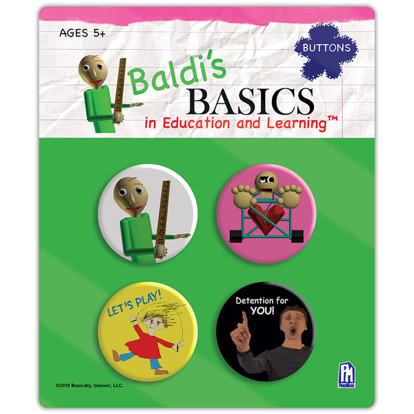Baldi's Basics Button Set v2 (4 Total)