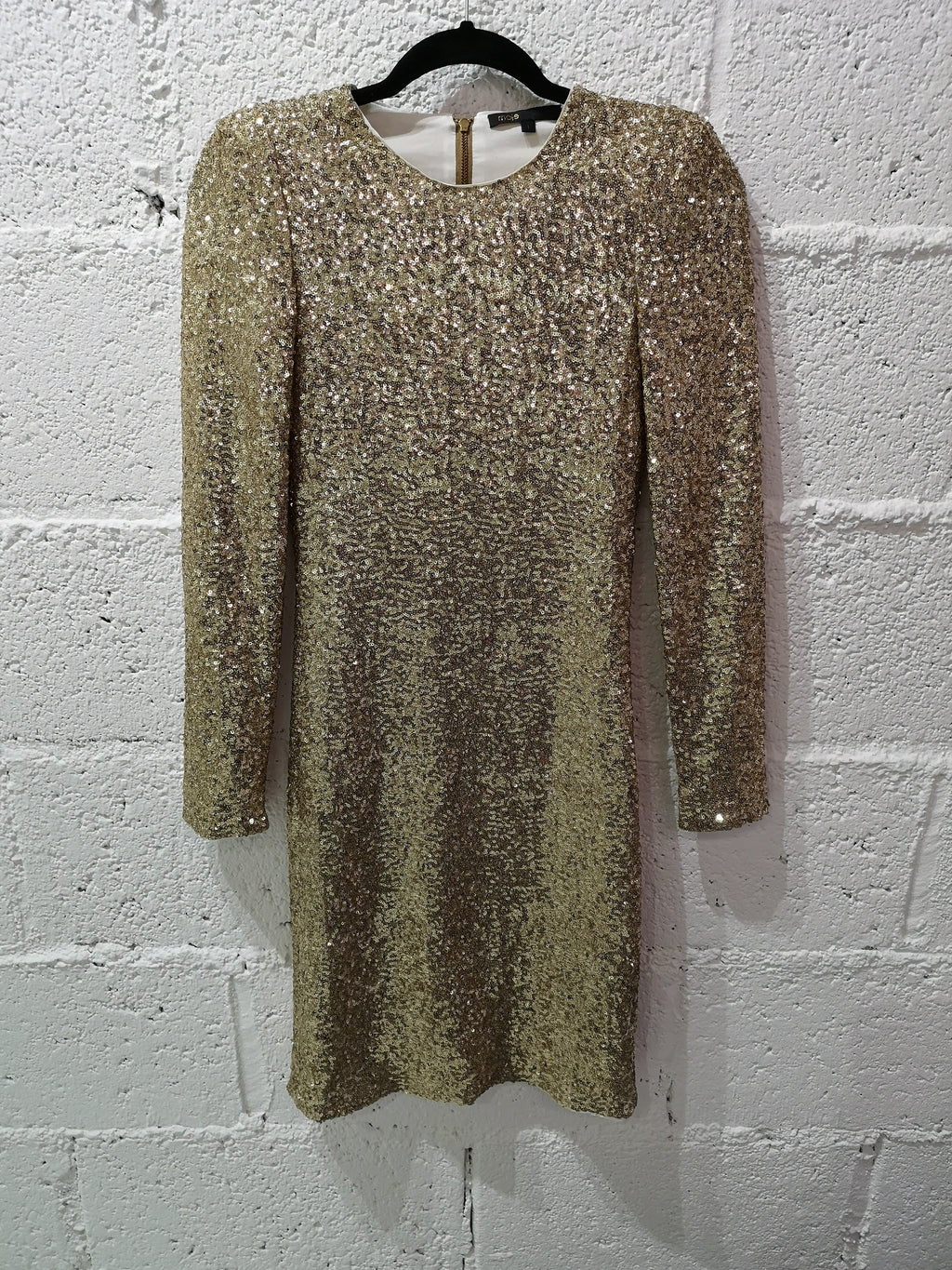 Maje Gold Sequin Dress, Size 1, UK 8