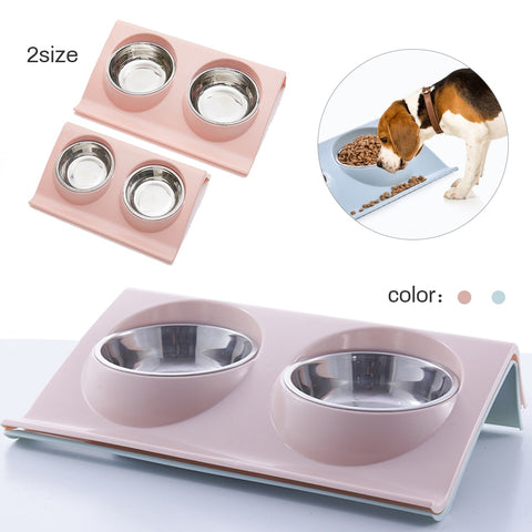 Double Stainless Steel Dog Bowls Water Feeder