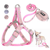 Cute Dog Harness Adjustable Nylon Vest Dog Leash Set Pink For Small Medium Dogs