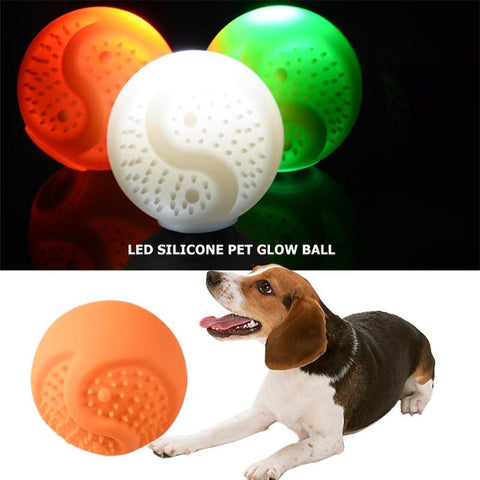 LED Glow Ball Toys for Dog Bite Resistance USB Charge Silicone