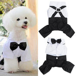 Cute Male Pet Dog  Prince Tuxedo Bow Tie Shirt Suit Puppy Jumpsuit Suit