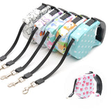 Strong Dog Retractable Leashes 5M Long  Traction Walking Printed Flower Automatic Adjustable Collar Leads