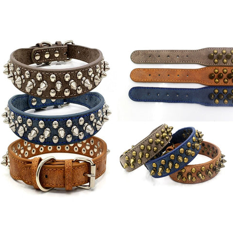 Retro Punk Style Pet Dog Rivet Collars PU Leather Round Bullet Nail Necklace Spiked Strap Small Dogs