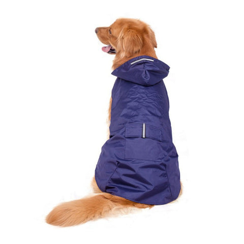 S-5XL Pet Dog Hooded Raincoat with Reflective Stripes Dog Outwear Waterproof Jacket