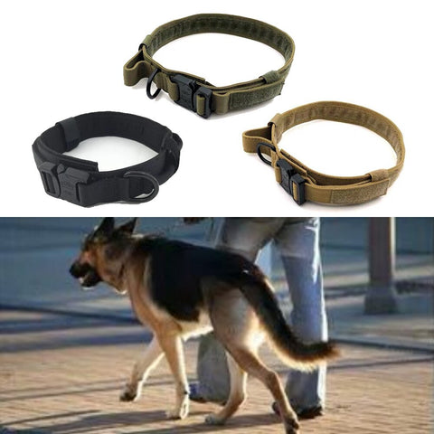 Dog Collar Nylon Adjustable Military Tactical Dog Collars Control Handle