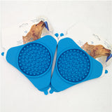 Blue Portable Fixed Suction Dog Lick Pad Dog Slow Feeder Silicone
