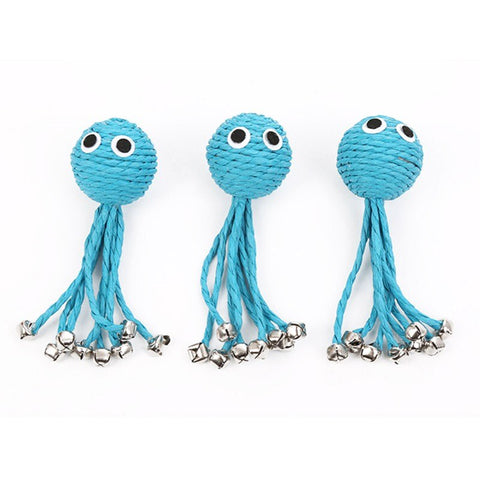 Blue Baby Octopus Woven By Paper Rope Scratch-resistant Pet Playing Toy With Bell