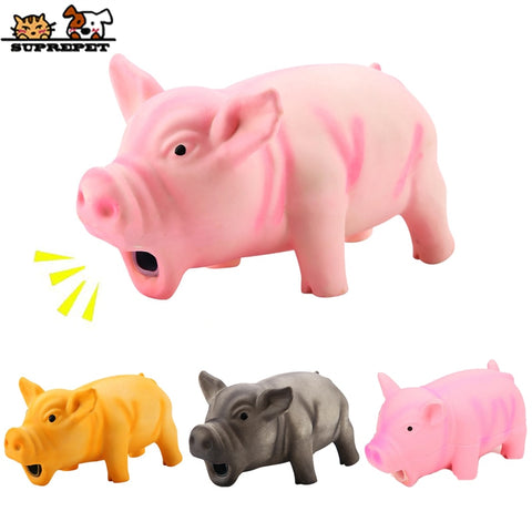 SUPREPET Pet Toys Cute Rubber Pig Dog Toys Pets Strong Grunts Squeaky Dog Toy