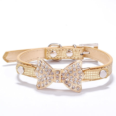 Small Dog Rhinestone Collars Bling Crystal Bow PU Leather