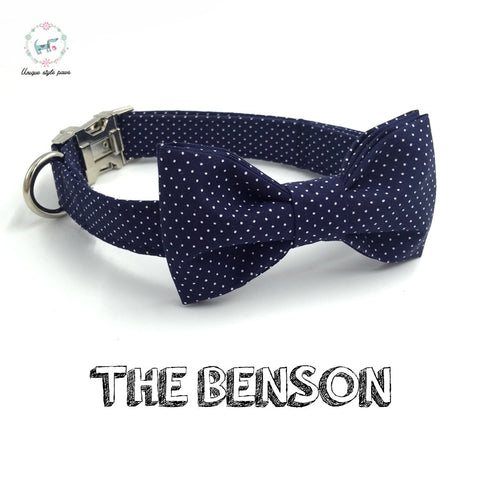 Navy and White dot bow tie dog collar adjustable XS-XL