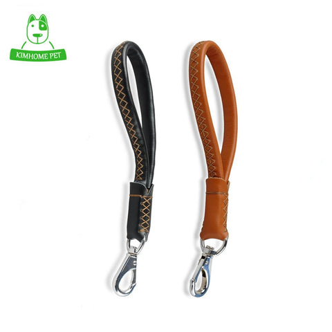 HEYPET  Black Brown Walking Pet Products Short Training Leather Dog Leash