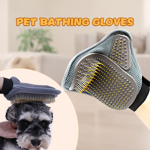 Dog Shower Brush Double Side Bath Massage Hair Clean Gloves