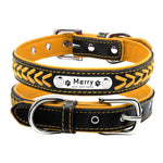 Personalized Custom Dog Collars Padded PU Leather Name ID