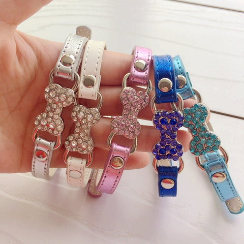 Bling Bone Pet Dog Collar with Rhinestone For Puppies Small Animals Cat Little Breeds Chihuahua Yorkshire