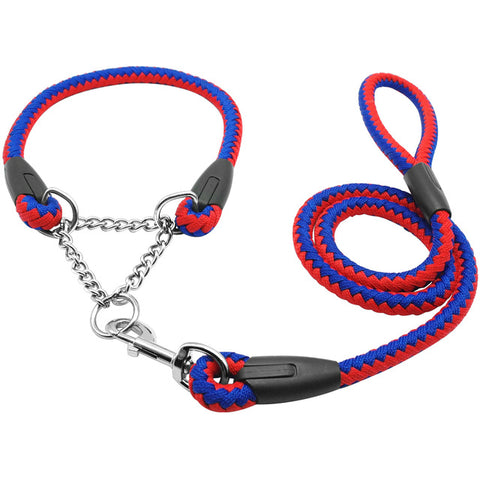 Martingale Braided Large Dog Collar With Leash