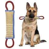 Dog Training Jute Bite Tug Toy For K9 Teeth Cleaning with 2 Handles