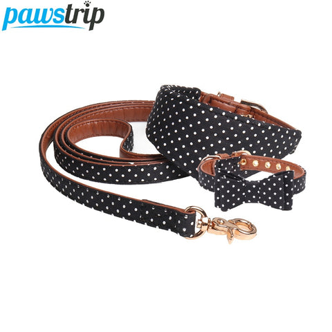 Dotted Dog Collar Bandana Soft Leather Dog Leash Cute Bow Collar