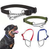Nylon Dog Collar With Welded Link Chain Adjustable Size Necklace