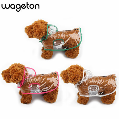 Wageton Transparent Dog Raincoat with Hood Waterproof Rain Coat for Dogs