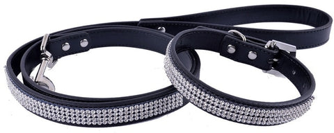 Rhinestone Leather Dog-Collar Set ( Matching Leash Included )