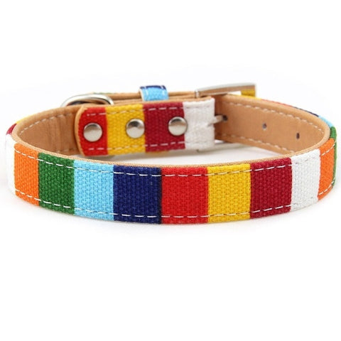 Padded Big Dog Collar Personalized Canvas&Leather