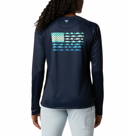 COLUMBIA - LADIES PFG TIDAL FISH FLAG LONGSLEEVE