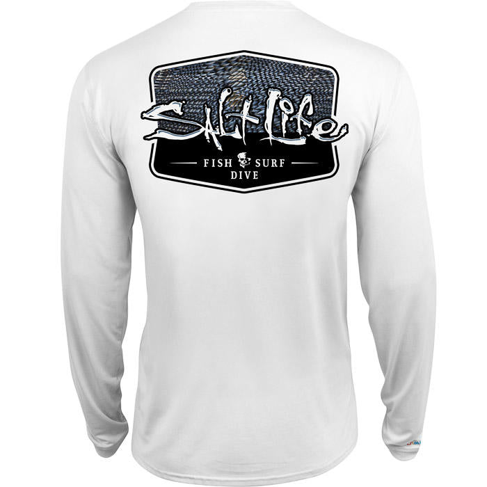 SALT LIFE- MENS METAL SCALES BADGE LONG SLEEVE