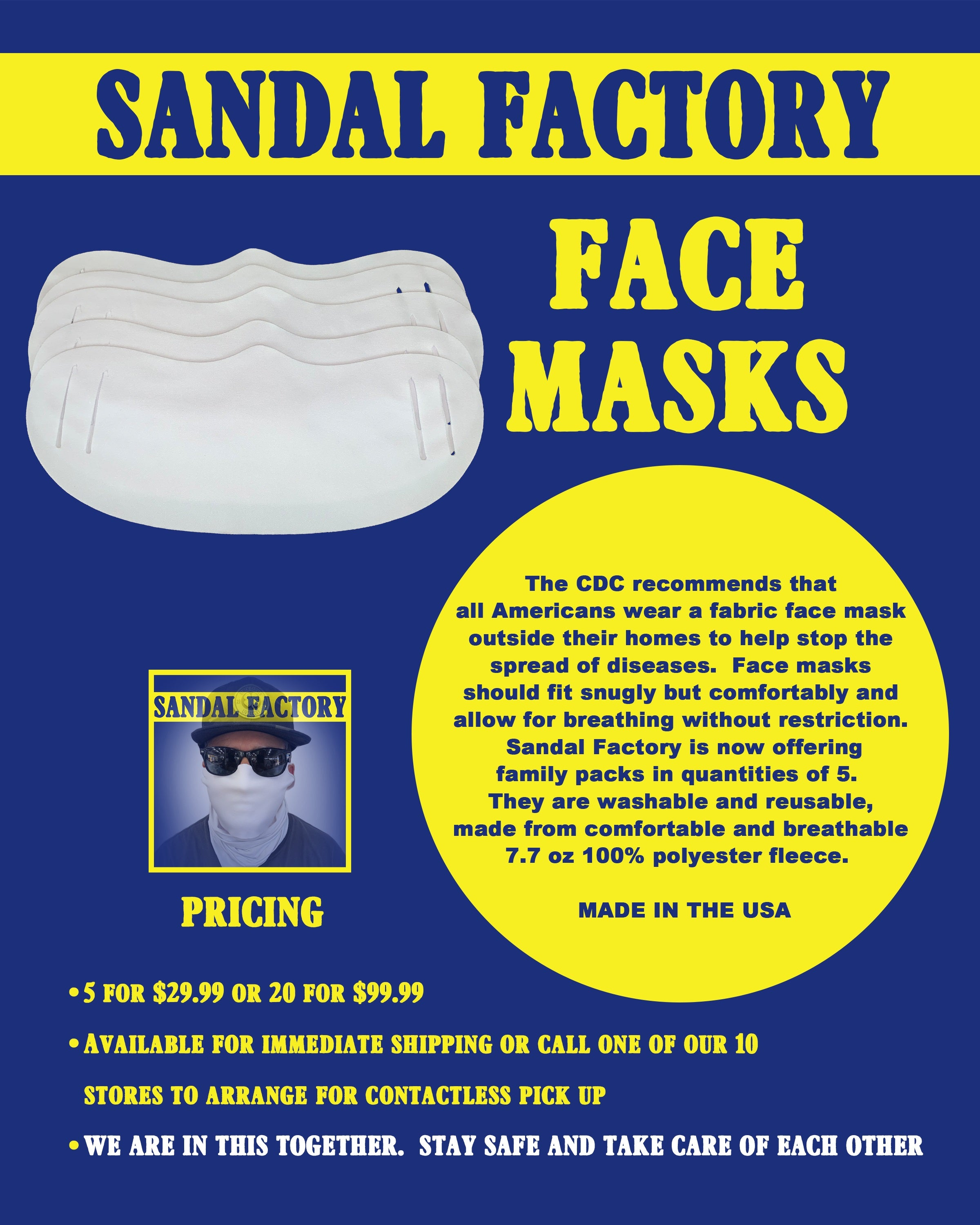 DAILY FACE MASK COVERS- 20 PACK- MADE IN THE USA
