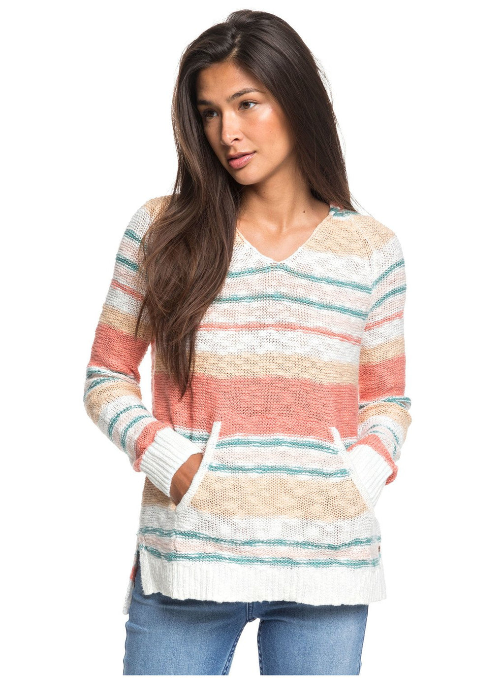 ROXY - LADIES AIRPORT VIBES STRIPED PONCHO