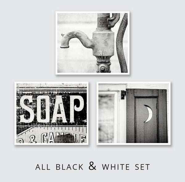 Lisa Russo Fine Art Bathroom & Laundry Room Aqua & Black Country Bathroom • Set of 3