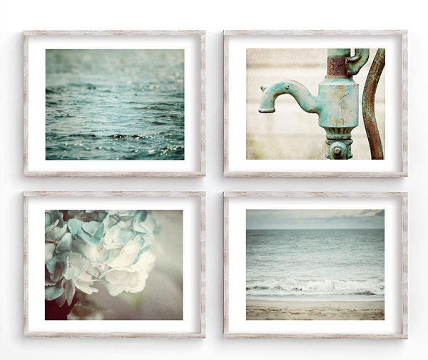 Lisa Russo Fine Art Bathroom & Laundry Room Beach & Floral Shabby Chic Bath <br>Discounted Set of 4