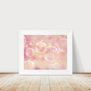 Lisa Russo Fine Art Bathroom & Laundry Room Bubbles in Pink and Gold