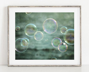 Lisa Russo Fine Art Bathroom & Laundry Room Bubbles in Teal <br>Abstract Kids Bathroom Decor