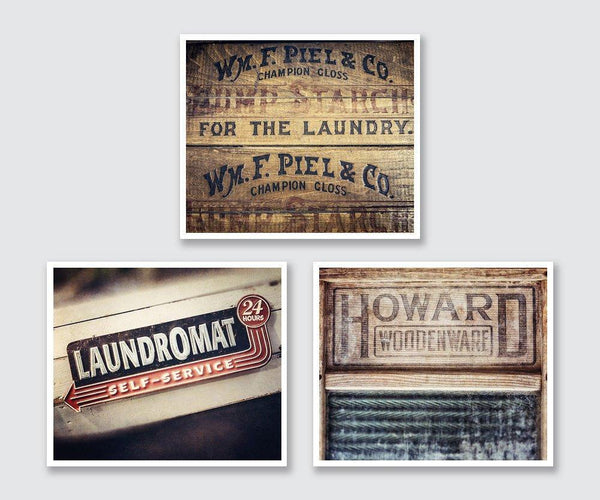 Lisa Russo Fine Art Bathroom & Laundry Room Farmhouse Laundry • Set of 3