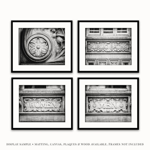 Lisa Russo Fine Art Bathroom & Laundry Room Industrial Architecture Bathroom • Set of 4
