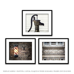 Lisa Russo Fine Art Bathroom & Laundry Room Rustic Industrial Bathroom • Set of 3