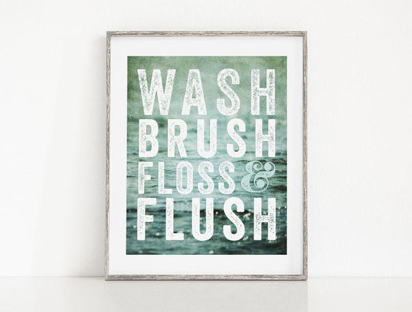 Lisa Russo Fine Art Bathroom & Laundry Room Wash, Brush, Floss & Flush <br>Teal Bathroom Decor
