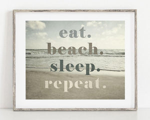 Lisa Russo Fine Art Beach Decor Eat Beach Sleep Repeat <br>Beach House Wall Decor