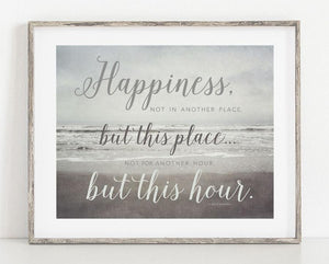 Lisa Russo Fine Art Beach Decor Happiness Is <br>Motivational Quotation
