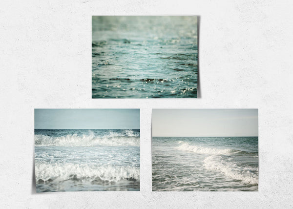 Lisa Russo Fine Art Beach Decor Soft Teal Beach • Set of 3
