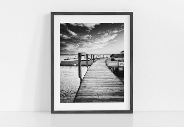 Lisa Russo Fine Art Beach Decor Sunset Dock <br>Black and White Lodge Decor
