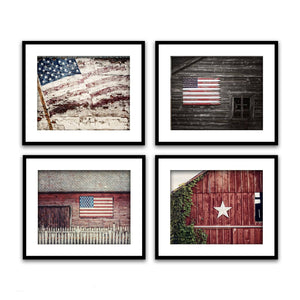 Lisa Russo Fine Art Farmhouse and Rustic Decor Americana Stars & Stripes • Set of 4