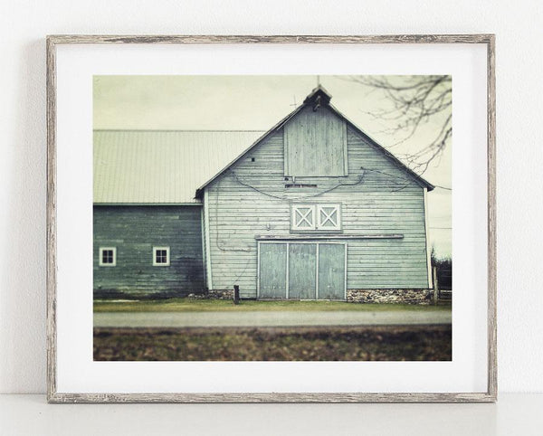 Lisa Russo Fine Art Farmhouse and Rustic Decor Aqua Barn No. 1 <br>Rustic Farmhouse Wall Art