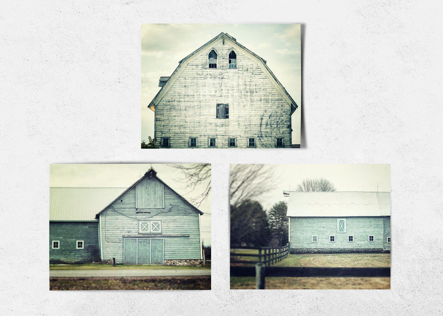 Lisa Russo Fine Art Farmhouse and Rustic Decor Aqua Shabby Chic Barns • Set of 3