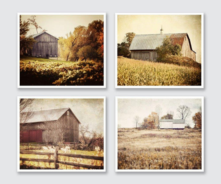 Lisa Russo Fine Art Farmhouse and Rustic Decor Fall Barns • Set of 4