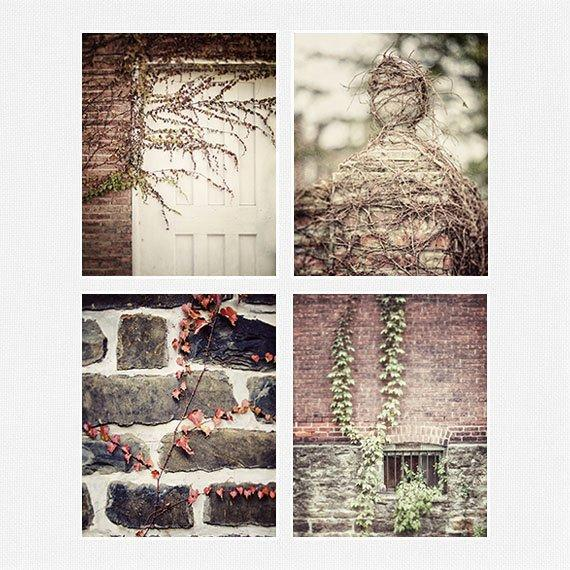 Lisa Russo Fine Art Farmhouse and Rustic Decor French Country Brick & Ivy • Set of 4